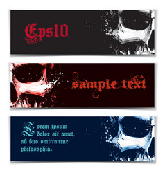 Skull artistic splatter banners black red blue vector