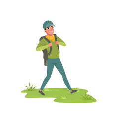Smiling man walking with backpack tourist vector