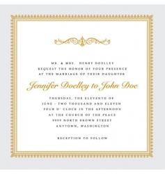 Square gold wedding frame vector