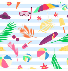 Summer pattern with beach objects and accessories vector
