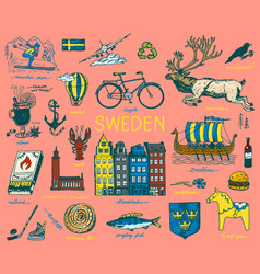 symbols sweden in vintage style retro sketch vector image