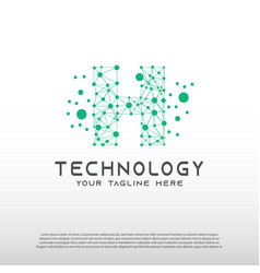 Technology logo with initial h letter network vector