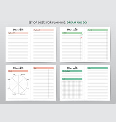 Templates for personal life planning agenda vector
