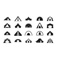 Tent icon set simple style vector