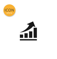 up trend chart icon isolated flat style vector image