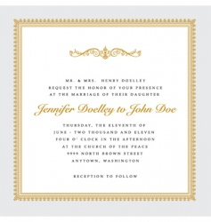 Vector square gold wedding frame vector