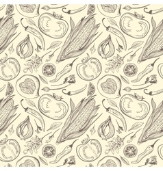 Vintage Healthy Food Sketch Pattern vector image