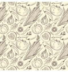 Vintage Healthy Food Sketch Pattern vector
