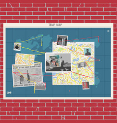 Wall with crime map concept vector