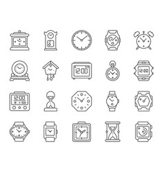 watch simple black line icons set vector image