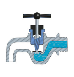 Water tap with falling drop vector