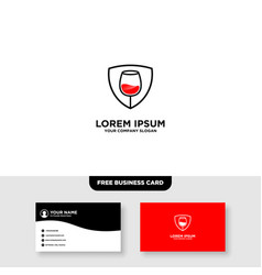 Wine shield logo and business card template vector