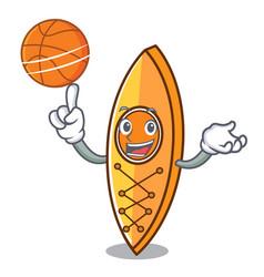 with basketball canoe character cartoon style vector image