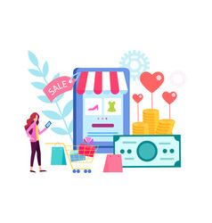woman chooses gifts in the online store vector image