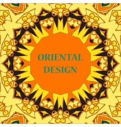 Yellow Mandala Print Round Ornamental Symmetry vector
