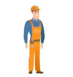 Young caucasian confident builder vector