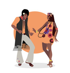 Young couple wearing hippie clothes 60s vector