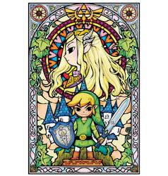 Zelda wind waker stained glass vector