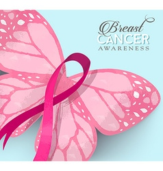 Breast cancer pink butterfly ribbon vector image vector image