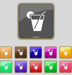 cocktail icon sign Set with eleven colored buttons vector image vector image