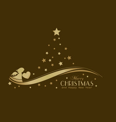 golden stars christmas tree with angel vector image vector image