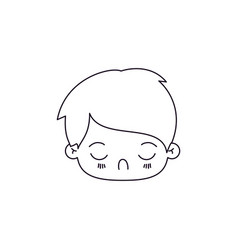 Monochrome silhouette of facial expression tired vector
