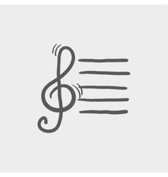Musical note sketch icon vector image vector image