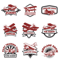set of air force airplane show flying academy vector image vector image