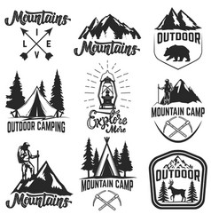 set of mountain camp emblems outdoor vector image vector image