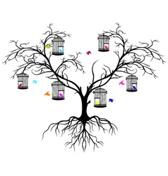 tree silhouette with color birds vector image vector image