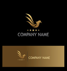bird pigeon fly star gold logo vector image vector image