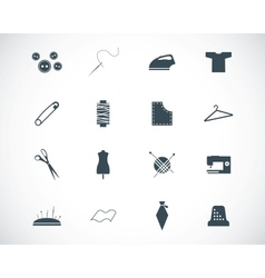 black sewing icons set vector image vector image