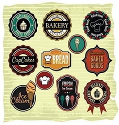 Retro grunge food labels badges vector image vector image