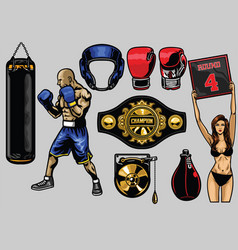set of boxing vector image vector image