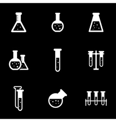 white chemistry icon set vector image