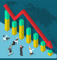 businessman shocked when business graph falling vector image
