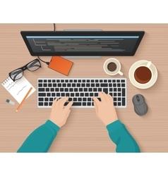 Developer working at computer Programmer hands vector image