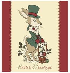 Easter retro card with rabbit vector image vector image
