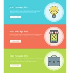 Flat line Business Concept Web Site Banners Set vector image vector image