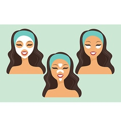 girl with various beauty masks vector image vector image
