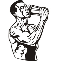 Man drinking water from a shaker vector