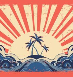 Paradise island on grunge background vector image vector image