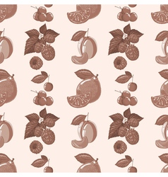 pattern of lemon raspberry cherry plum vector image vector image
