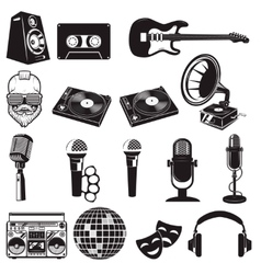 Set of retro party elements Music instruments vector image