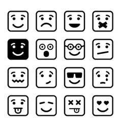 Square Smiley faces set vector image vector image