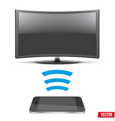 Wireless controlling modern led tv with smartphone vector
