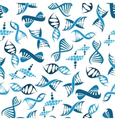 Blue DNA elements seamless pattern vector image vector image