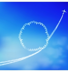 Blue sky background with trace of an airplane vector image