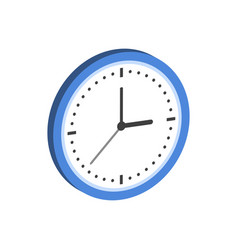 clock symbol flat isometric icon or logo 3d style vector image