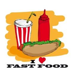 I love fast food card design vector image